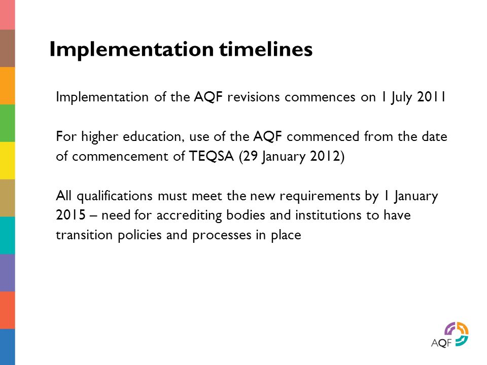 Implementation timelines Implementation of the AQF revisions commences on 1 July 2011 For higher education, use of the AQF commenced from the date of