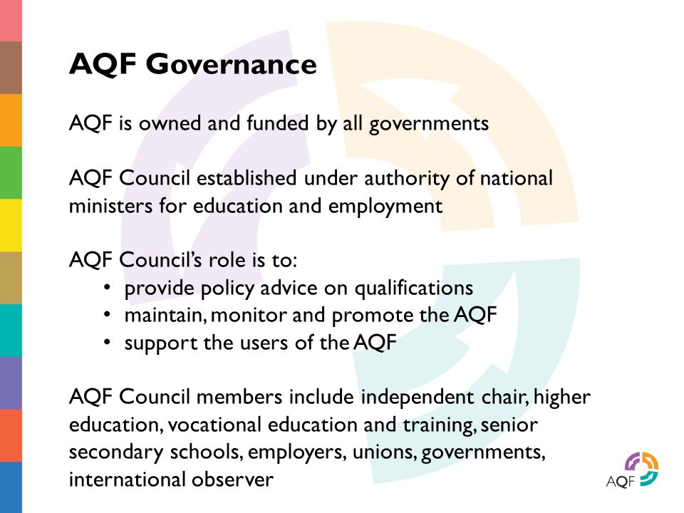 AQF Governance AQF is owned and funded by all governments AQF Council established under authority of national ministers for education and employment A
