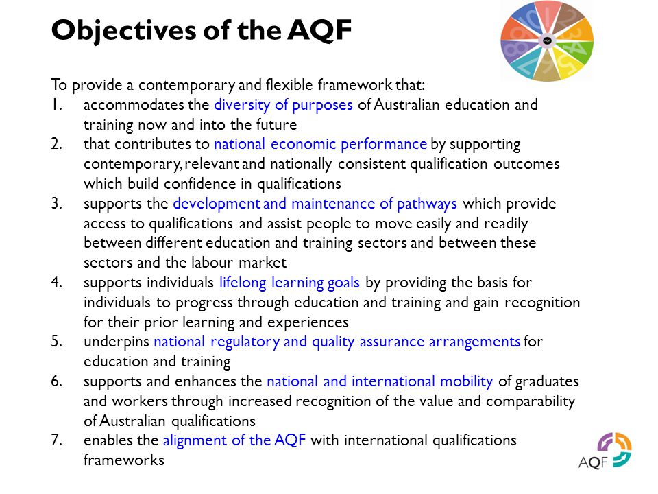 Objectives of the AQF To provide a contemporary and flexible framework that: 1.accommodates the diversity of purposes of Australian education and trai