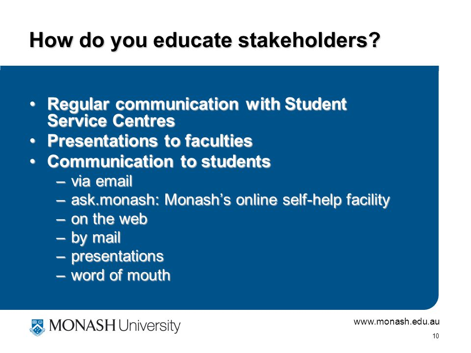 www.monash.edu.au 9 What is required for a successful debt management process.
