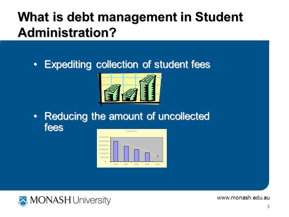 www.monash.edu.au 3 What is debt management in Student Administration.