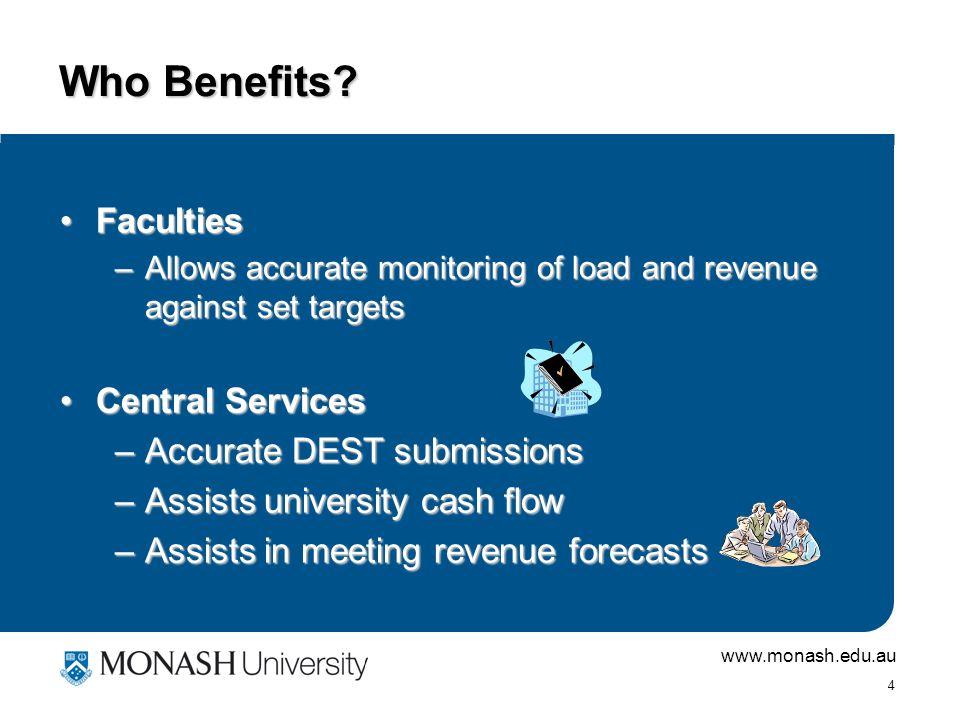 www.monash.edu.au 4 Who Benefits.