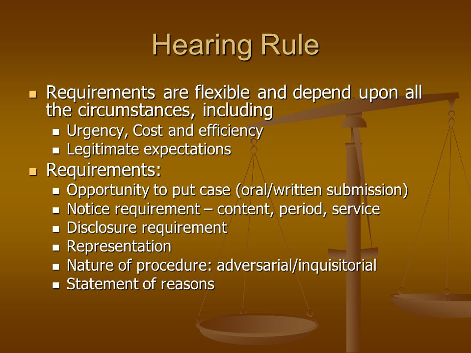 Hearing Rule Requirements are flexible and depend upon all the circumstances, including Requirements are flexible and depend upon all the circumstance