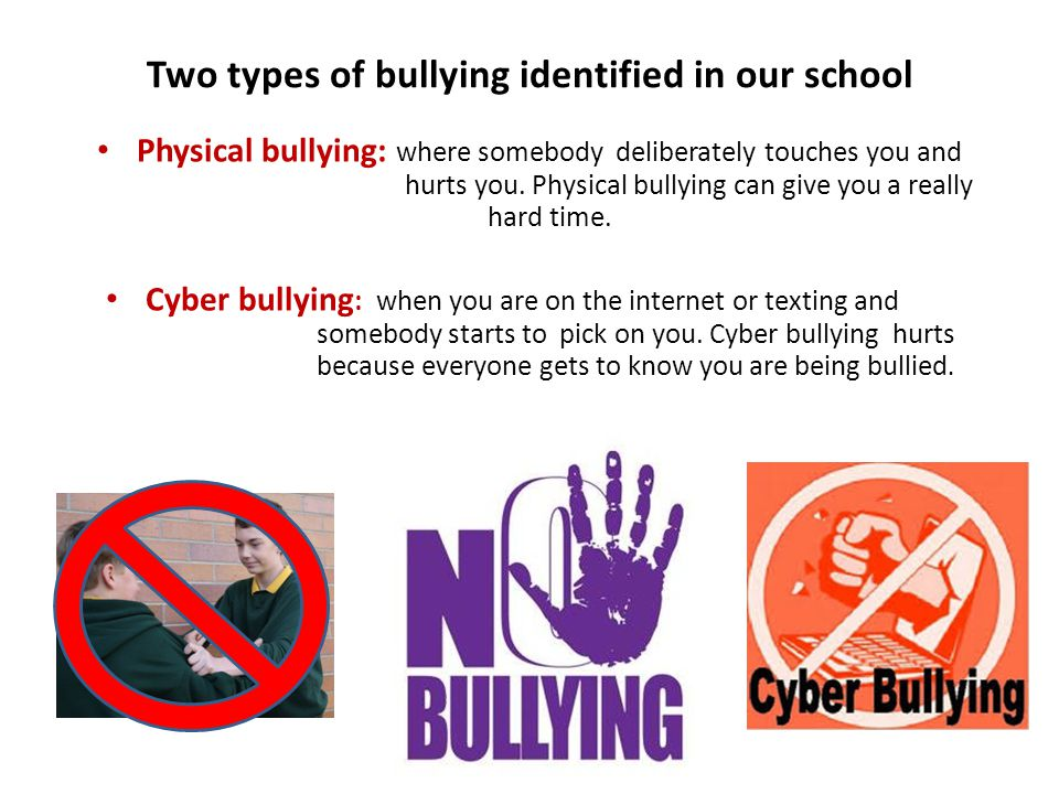 Two types of bullying identified in our school Physical bullying: where somebody deliberately touches you and hurts you.