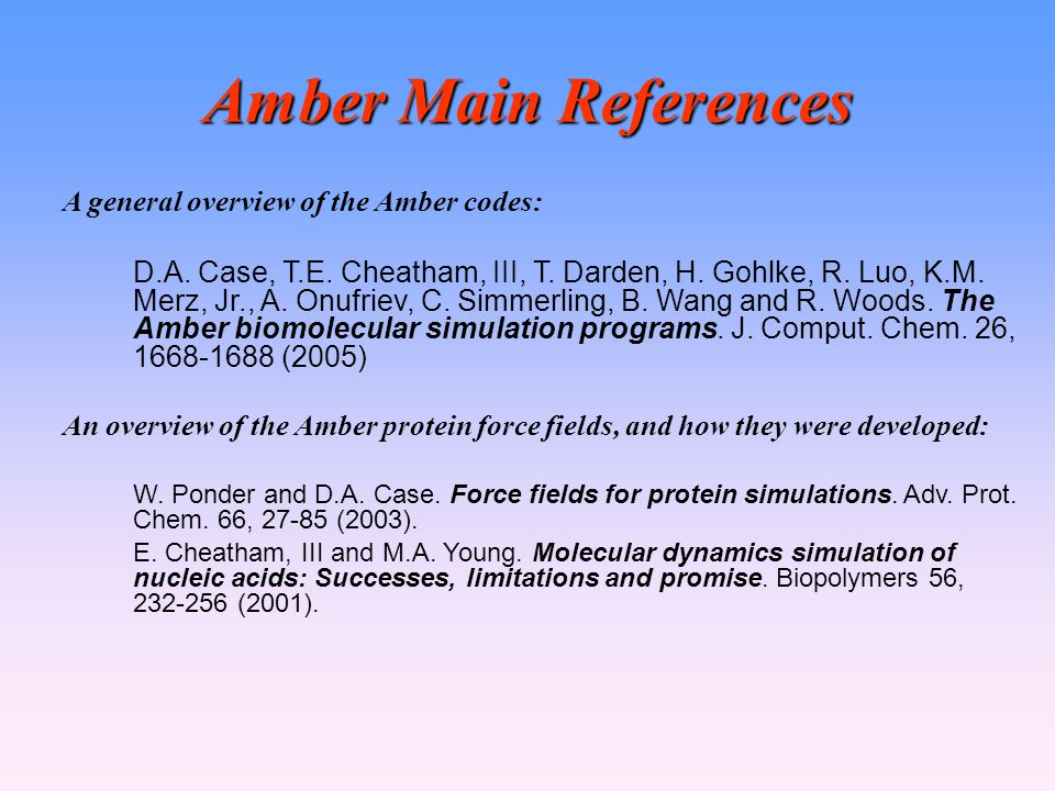 Amber Main References A general overview of the Amber codes: D.A.
