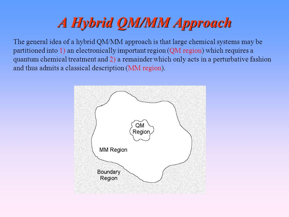 A Hybrid QM/MM Approach The general idea of a hybrid QM/MM approach is that large chemical systems may be partitioned into 1) an electronically important region (QM region) which requires a quantum chemical treatment and 2) a remainder which only acts in a perturbative fashion and thus admits a classical description (MM region).