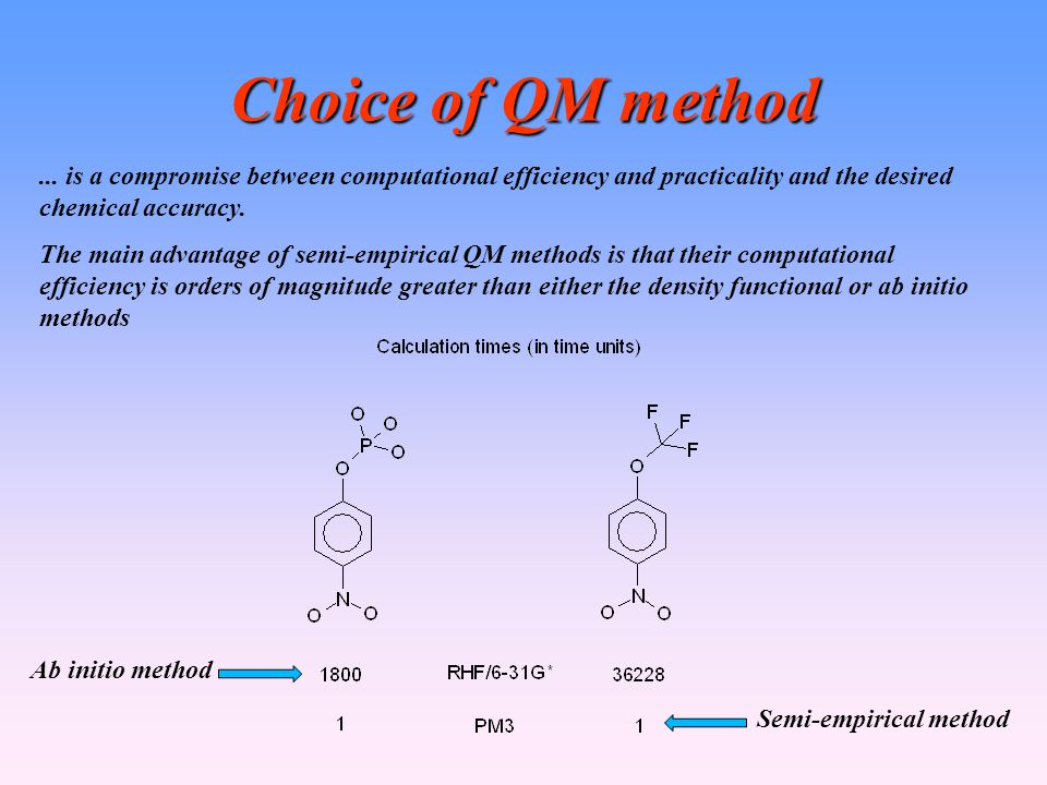 Choice of QM method... is a compromise between computational efficiency and practicality and the desired chemical accuracy. The main advantage of semi