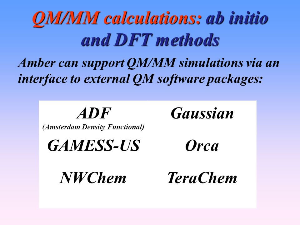 QM/MM calculations: ab initio and DFT methods Amber can support QM/MM simulations via an interface to external QM software packages: ADF (Amsterdam Density Functional) Gaussian GAMESS-USOrca NWChemTeraChem