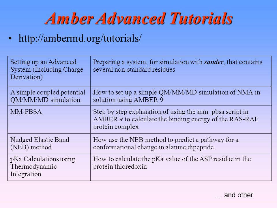 Amber Advanced Tutorials http://ambermd.org/tutorials/ Setting up an Advanced System (Including Charge Derivation) Preparing a system, for simulation with sander, that contains several non-standard residues A simple coupled potential QM/MM/MD simulation.