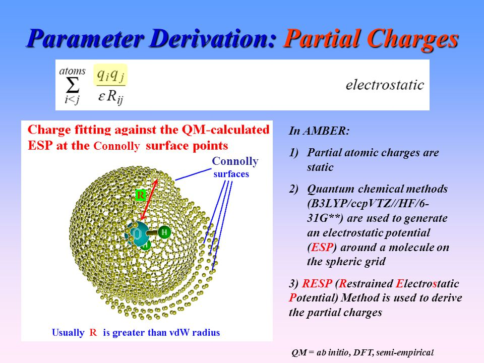 Parameter Derivation: Partial Charges In AMBER: 1)Partial atomic charges are static 2)Quantum chemical methods (B3LYP/ccpVTZ//HF/6- 31G**) are used to generate an electrostatic potential (ESP) around a molecule on the spheric grid 3) RESP (Restrained Electrostatic Potential) Method is used to derive the partial charges QM = ab initio, DFT, semi-empirical Connolly