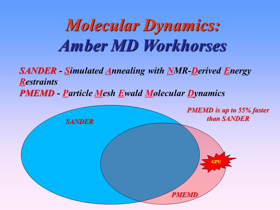 Molecular Dynamics: Amber MD Workhorses SANDER SANDER - Simulated Annealing with NMR-Derived Energy Restraints PMEMD PMEMD - Particle Mesh Ewald Molecular Dynamics SANDER PMEMD GPU PMEMD is up to 55% faster than SANDER