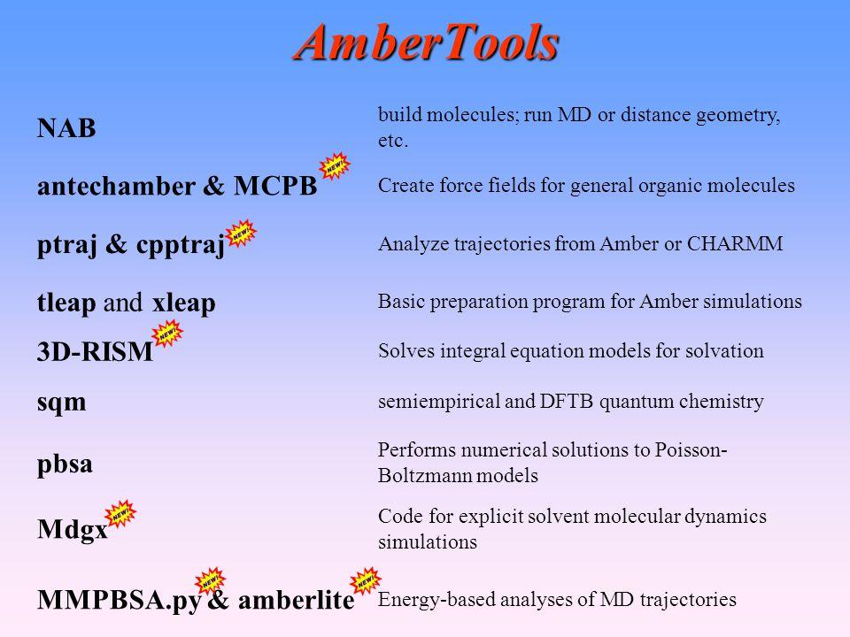 AmberTools NAB build molecules; run MD or distance geometry, etc. antechamber & MCPB Create force fields for general organic molecules ptraj & cpptraj
