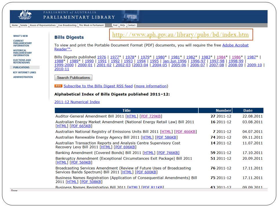 http://www.aph.gov.au/library/pubs/bd/index.htm