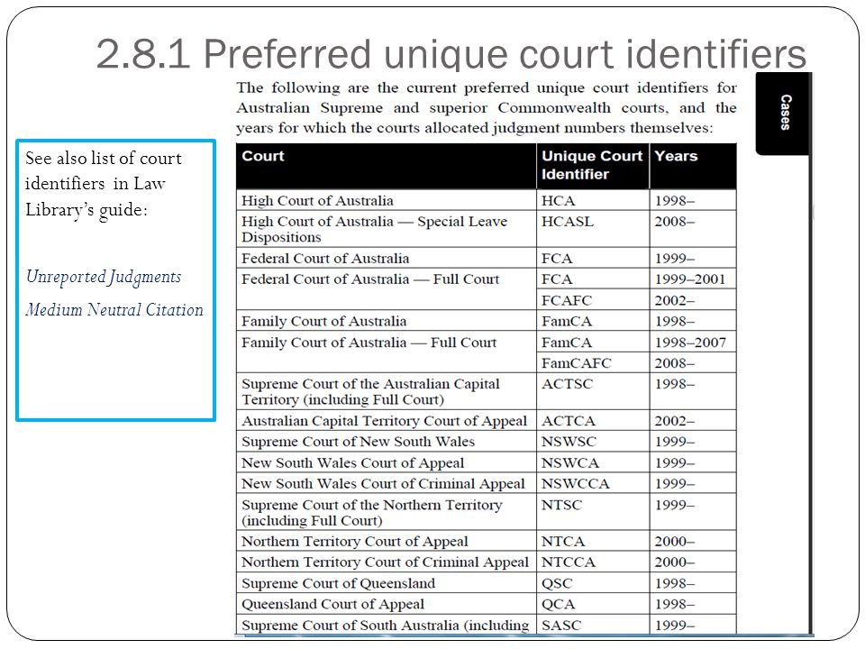 2.8.1 Preferred unique court identifiers See also list of court identifiers in Law Library's guide: Unreported Judgments Medium Neutral Citation