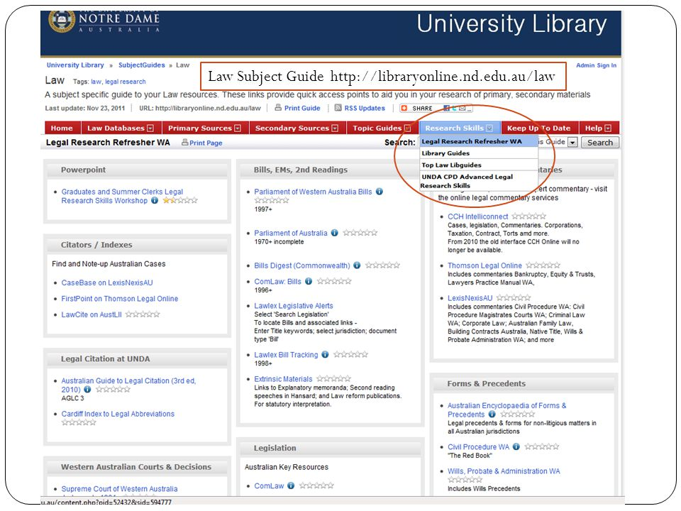 Law Subject Guide http://libraryonline.nd.edu.au/law