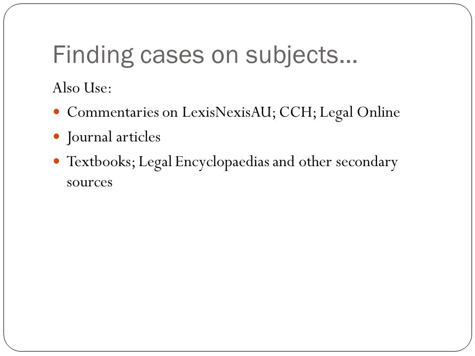 Finding cases on subjects...