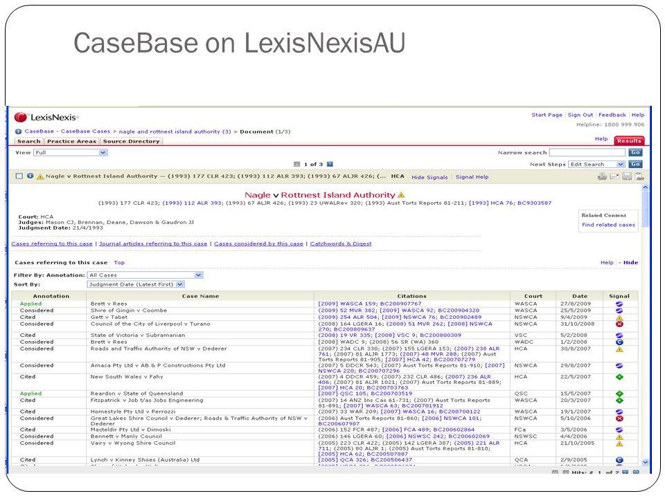 CaseBase on LexisNexisAU