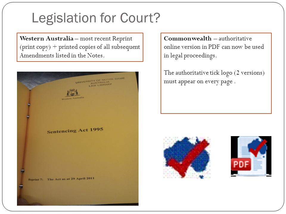 Legislation for Court.
