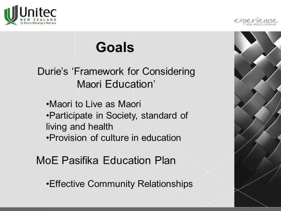 Goals Durie's 'Framework for Considering Maori Education ' Maori to Live as Maori Participate in Society, standard of living and health Provision of culture in education MoE Pasifika Education Plan Effective Community Relationships