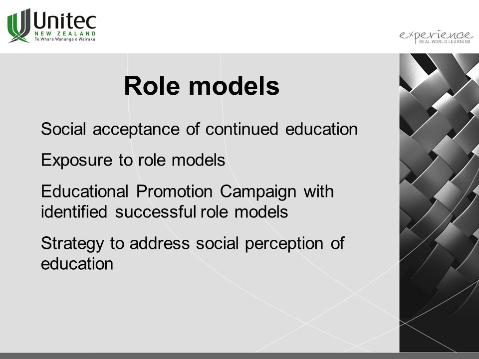 Role models Social acceptance of continued education Exposure to role models Educational Promotion Campaign with identified successful role models Strategy to address social perception of education