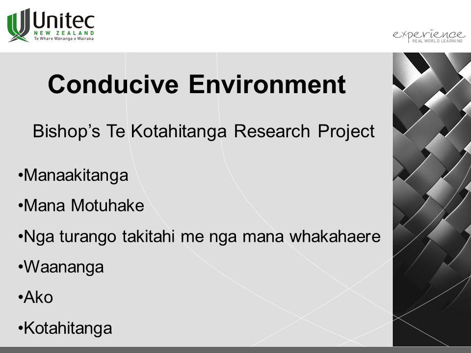 Conducive Environment Manaakitanga Mana Motuhake Nga turango takitahi me nga mana whakahaere Waananga Ako Kotahitanga Bishop's Te Kotahitanga Research