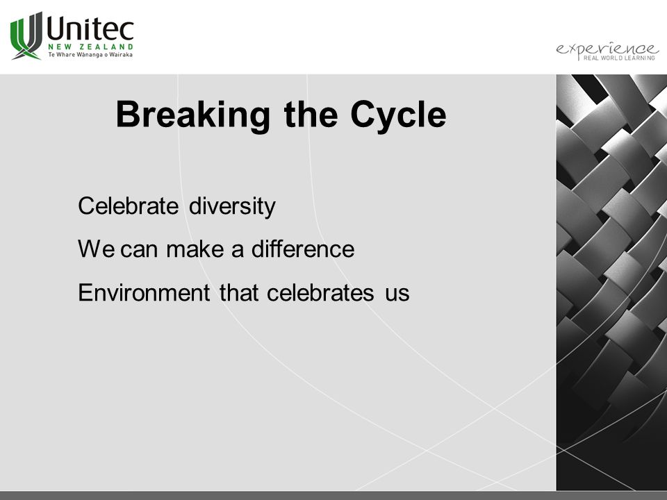 Breaking the Cycle Celebrate diversity We can make a difference Environment that celebrates us