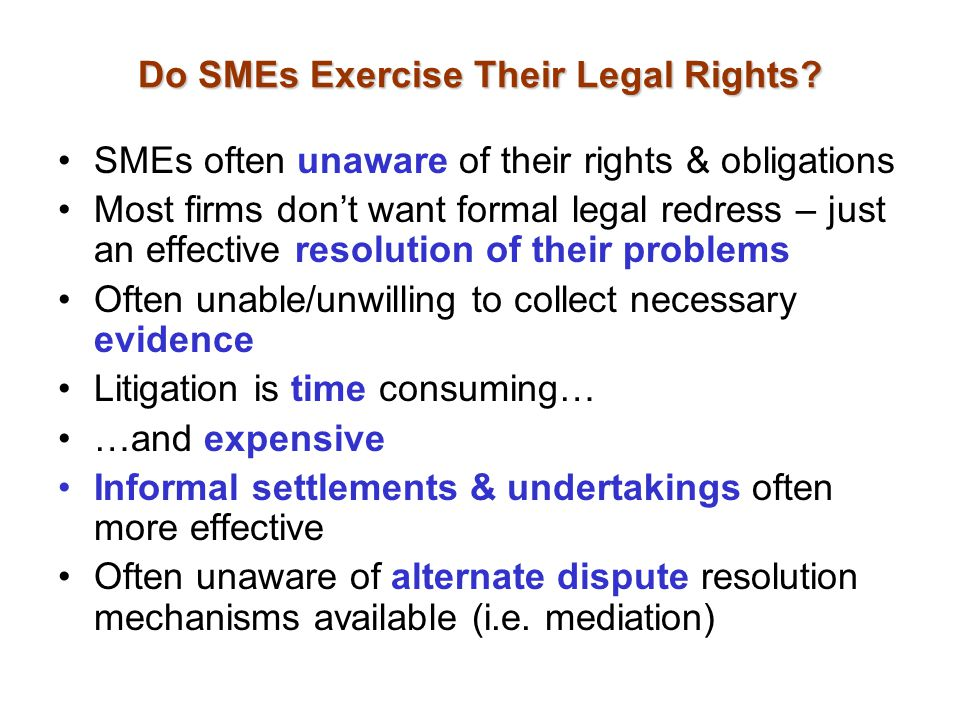 Do SMEs Exercise Their Legal Rights.