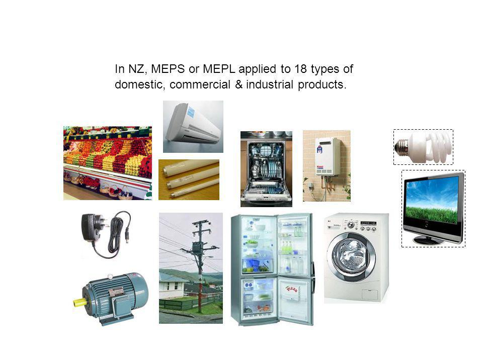 In NZ, MEPS or MEPL applied to 18 types of domestic, commercial & industrial products.
