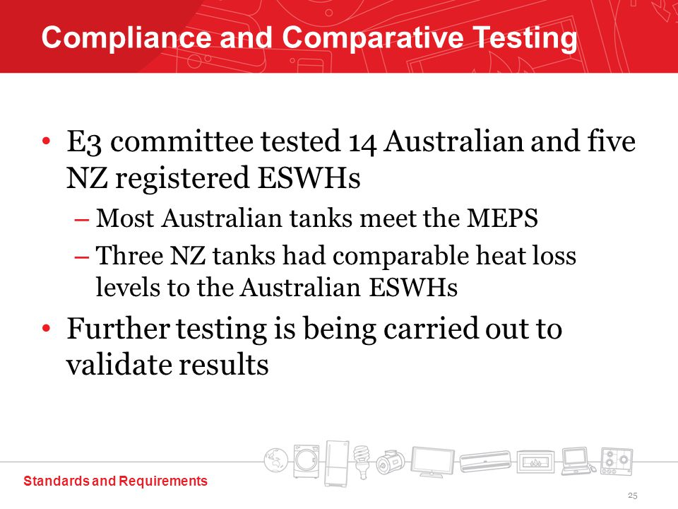 E3 committee tested 14 Australian and five NZ registered ESWHs – Most Australian tanks meet the MEPS – Three NZ tanks had comparable heat loss levels to the Australian ESWHs Further testing is being carried out to validate results Standards and Requirements Compliance and Comparative Testing 25