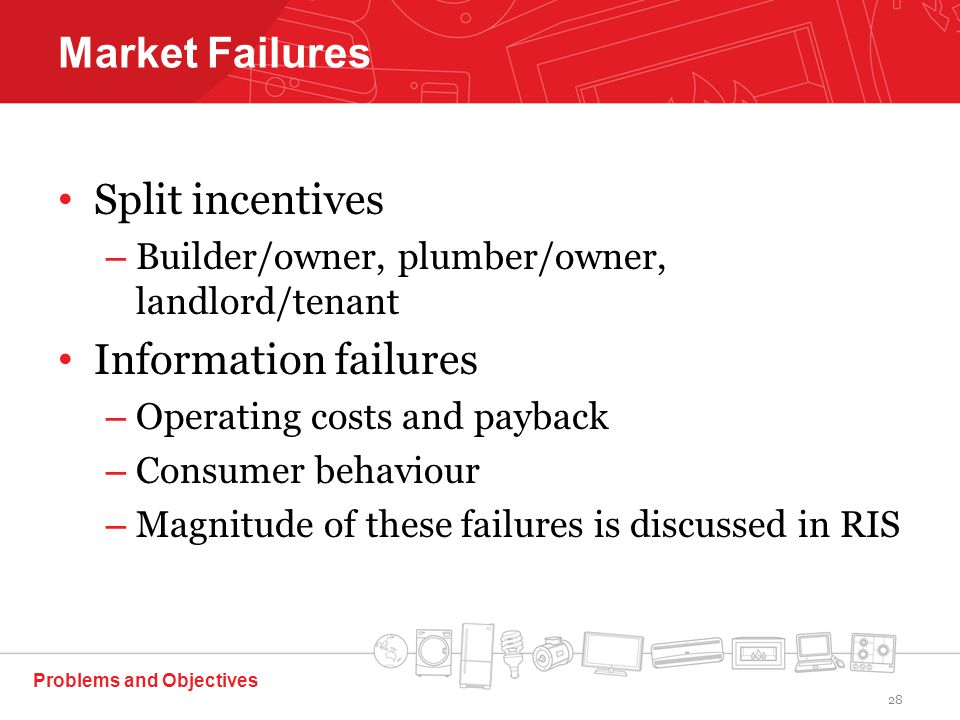 Split incentives – Builder/owner, plumber/owner, landlord/tenant Information failures – Operating costs and payback – Consumer behaviour – Magnitude of these failures is discussed in RIS Problems and Objectives Market Failures 28