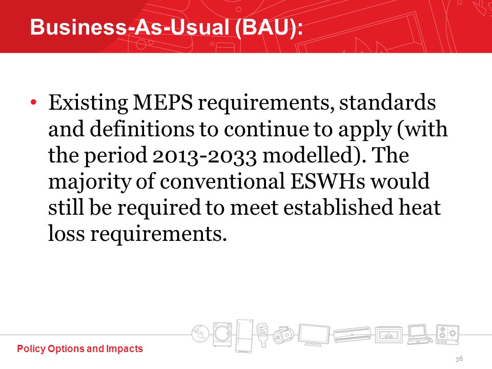 Existing MEPS requirements, standards and definitions to continue to apply (with the period 2013-2033 modelled).