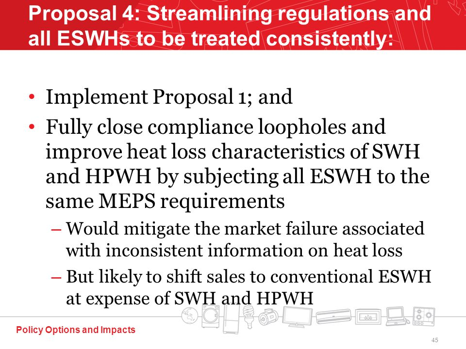 Implement Proposal 1; and Fully close compliance loopholes and improve heat loss characteristics of SWH and HPWH by subjecting all ESWH to the same MEPS requirements – Would mitigate the market failure associated with inconsistent information on heat loss – But likely to shift sales to conventional ESWH at expense of SWH and HPWH Policy Options and Impacts Proposal 4: Streamlining regulations and all ESWHs to be treated consistently: 45