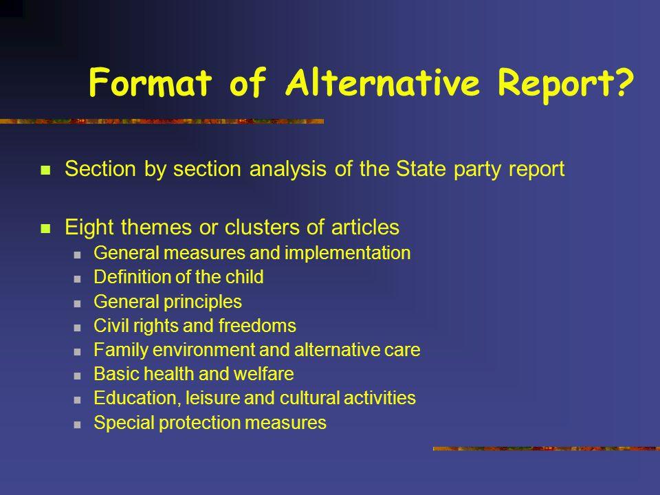 Format of Alternative Report.