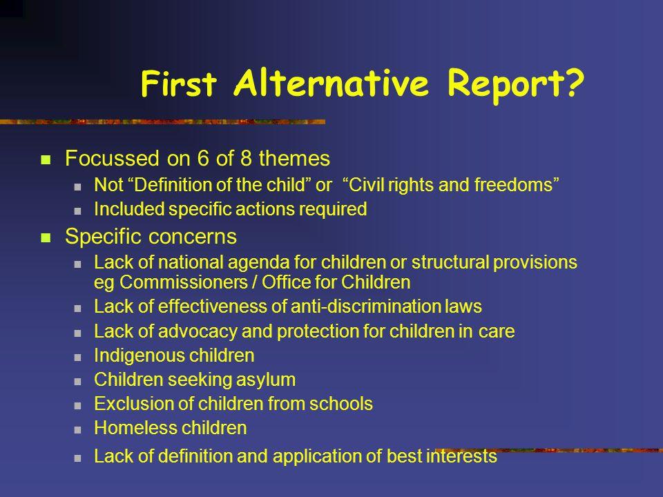 First Alternative Report.