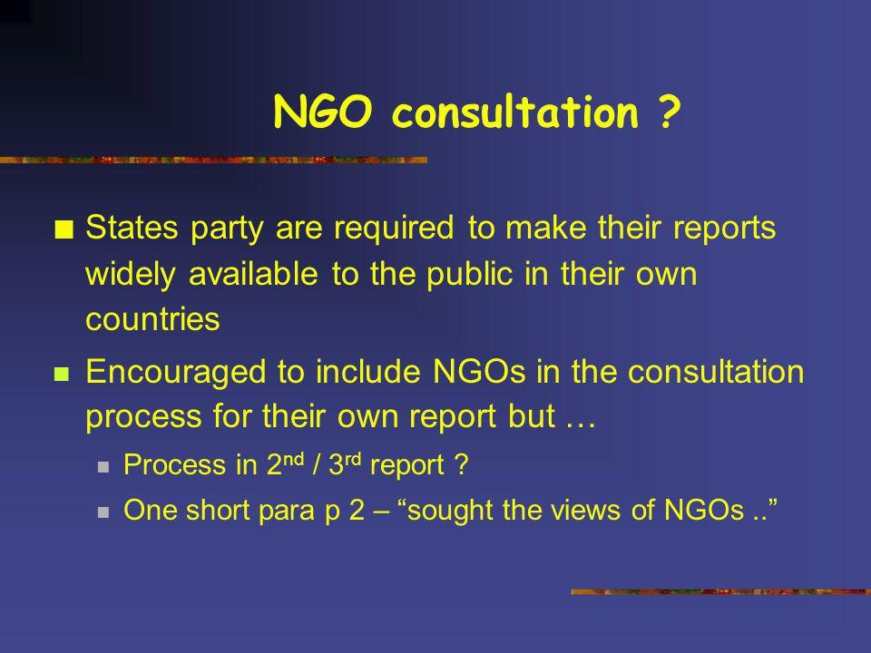 NGO consultation .