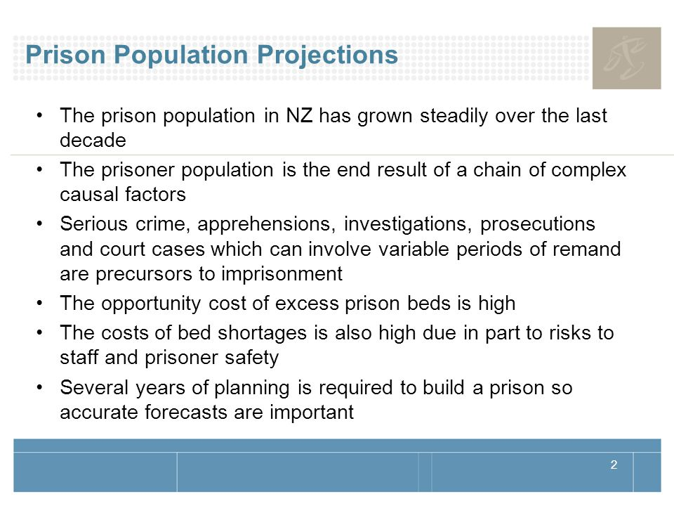 2 Prison Population Projections The prison population in NZ has grown steadily over the last decade The prisoner population is the end result of a chain of complex causal factors Serious crime, apprehensions, investigations, prosecutions and court cases which can involve variable periods of remand are precursors to imprisonment The opportunity cost of excess prison beds is high The costs of bed shortages is also high due in part to risks to staff and prisoner safety Several years of planning is required to build a prison so accurate forecasts are important
