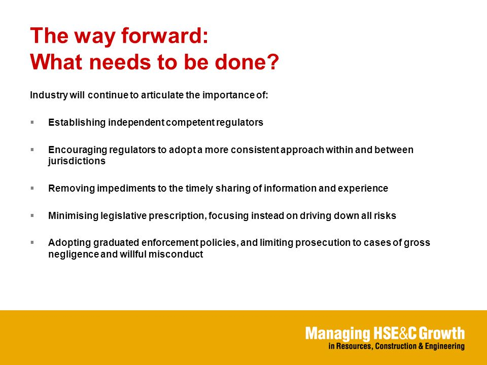The way forward: What needs to be done.