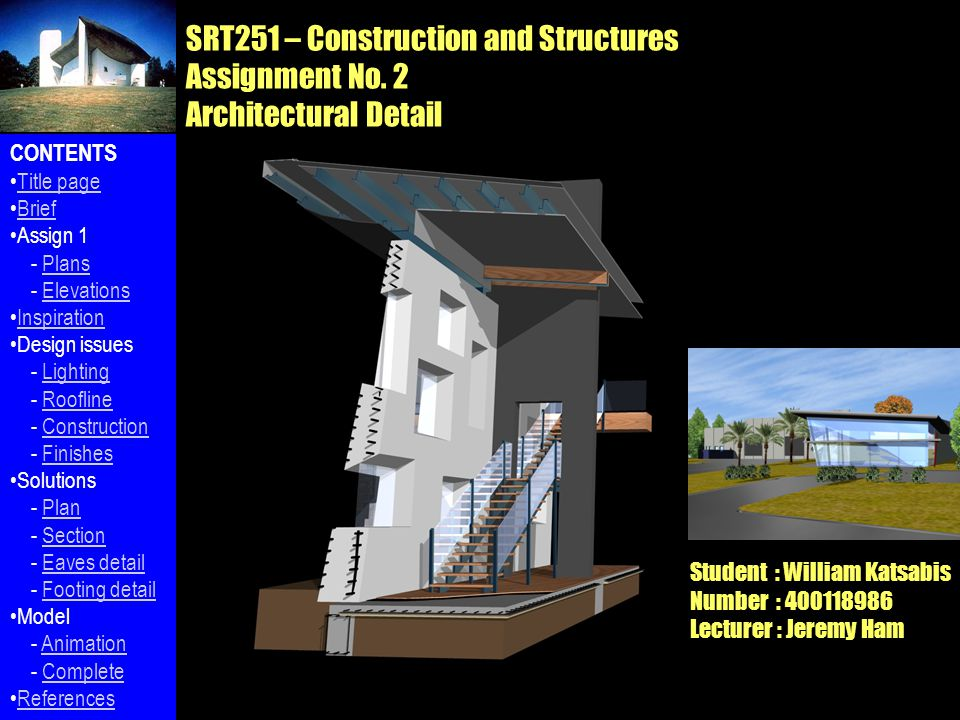 SRT251 – Construction and Structures Assignment No.