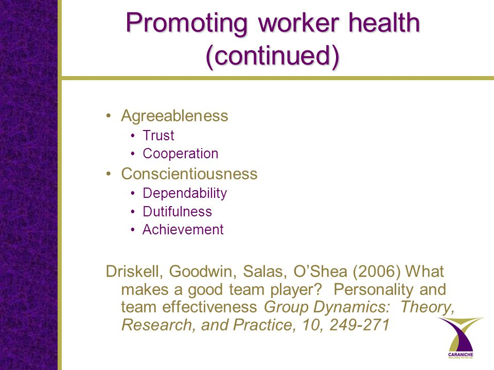Promoting worker health (continued) Agreeableness Trust Cooperation Conscientiousness Dependability Dutifulness Achievement Driskell, Goodwin, Salas, O'Shea (2006) What makes a good team player.