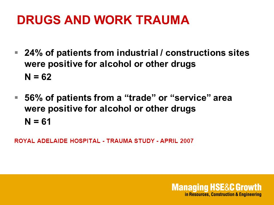 DRUGS AND WORK TRAUMA  24% of patients from industrial / constructions sites were positive for alcohol or other drugs N = 62  56% of patients from a trade or service area were positive for alcohol or other drugs N = 61 ROYAL ADELAIDE HOSPITAL - TRAUMA STUDY - APRIL 2007