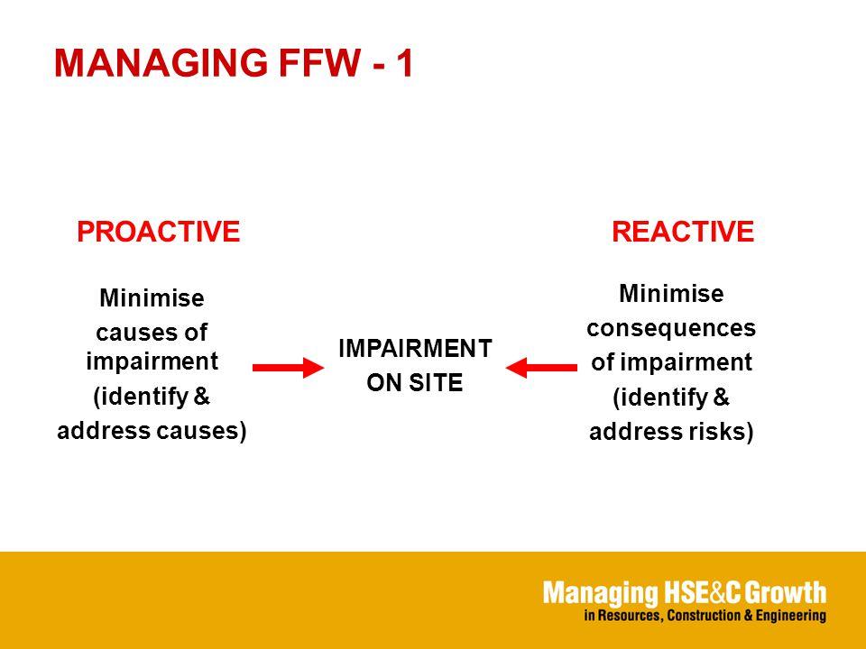 MANAGING FFW - 2 Organisational risks solutions IMPAIRMENT Individual Individual risks solutions