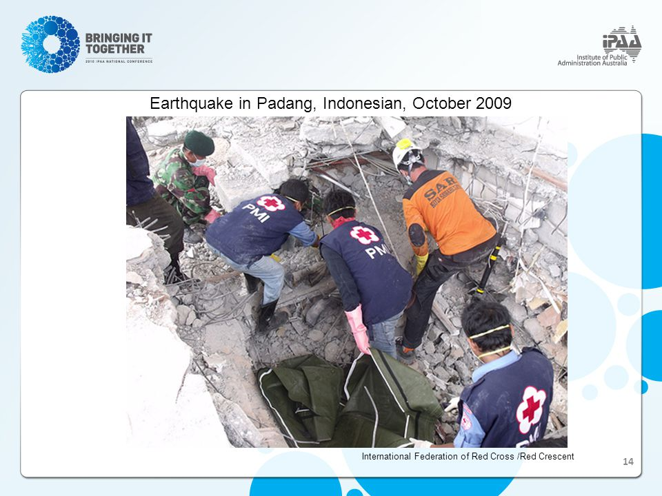 Earthquake in Padang, Indonesian, October 2009 International Federation of Red Cross /Red Crescent 14