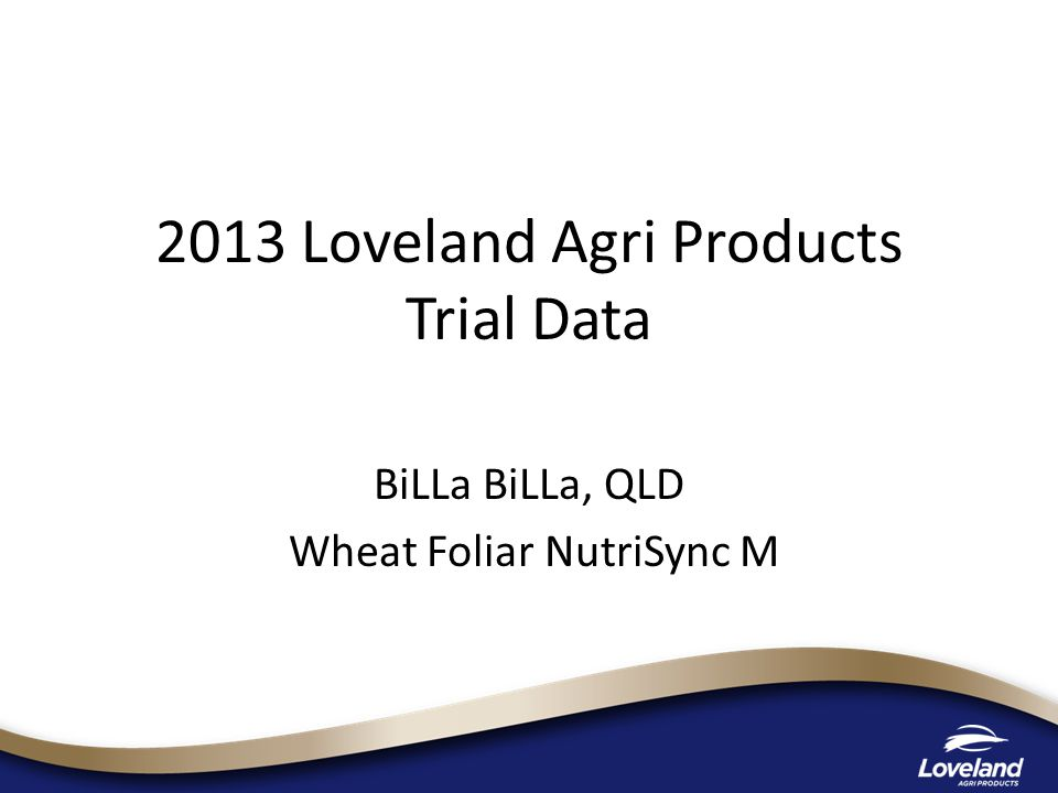 2013 Loveland Agri Products Trial Data BiLLa BiLLa, QLD Wheat Foliar NutriSync M