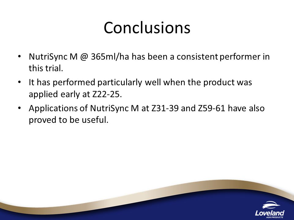 NutriSync 365ml/ha has been a consistent performer in this trial.