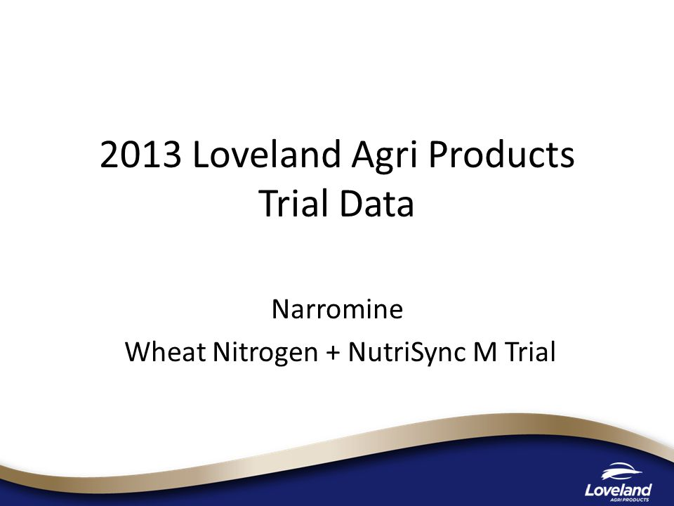 2013 Loveland Agri Products Trial Data Narromine Wheat Nitrogen + NutriSync M Trial