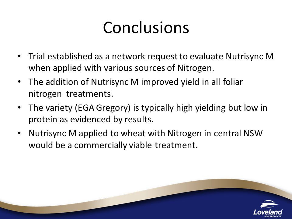 Trial established as a network request to evaluate Nutrisync M when applied with various sources of Nitrogen.