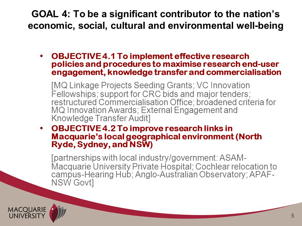 5 OBJECTIVE 4.1 To implement effective research policies and procedures to maximise research end-user engagement, knowledge transfer and commercialisa