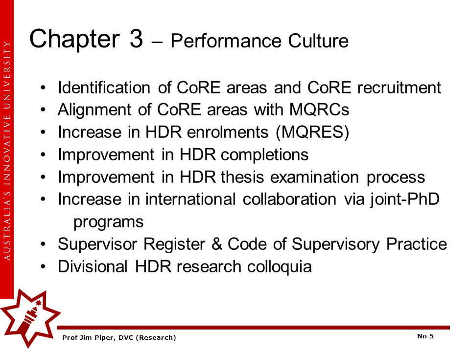 Prof Jim Piper, DVC (Research) No 5 Chapter 3 – Performance Culture Identification of CoRE areas and CoRE recruitment Alignment of CoRE areas with MQR