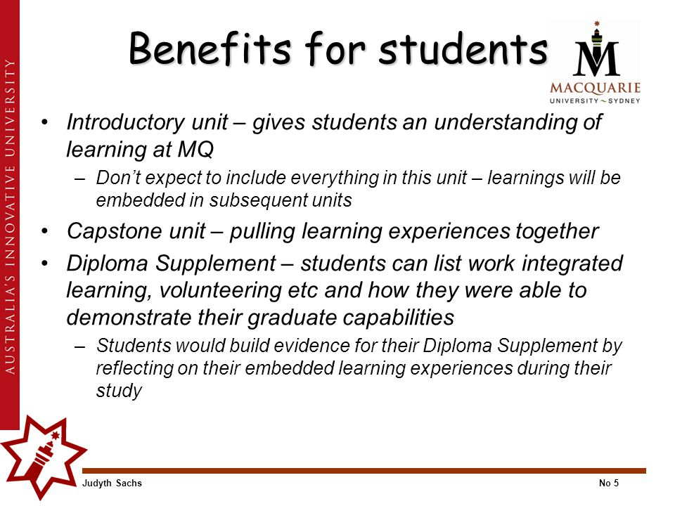 Judyth SachsNo 5 Benefits for students Introductory unit – gives students an understanding of learning at MQ –Don't expect to include everything in th