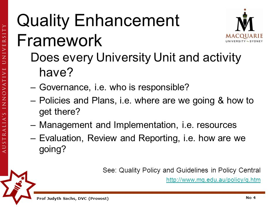 Prof Judyth Sachs, DVC (Provost) No 4 Quality Enhancement Framework Does every University Unit and activity have.